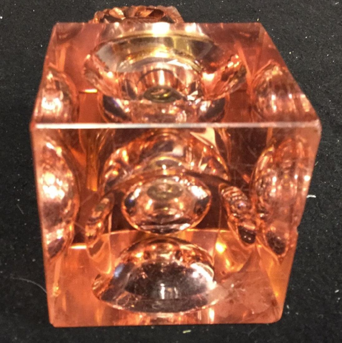 Cranberry Colored Crystal And Brass Inkwell Heavy - 5