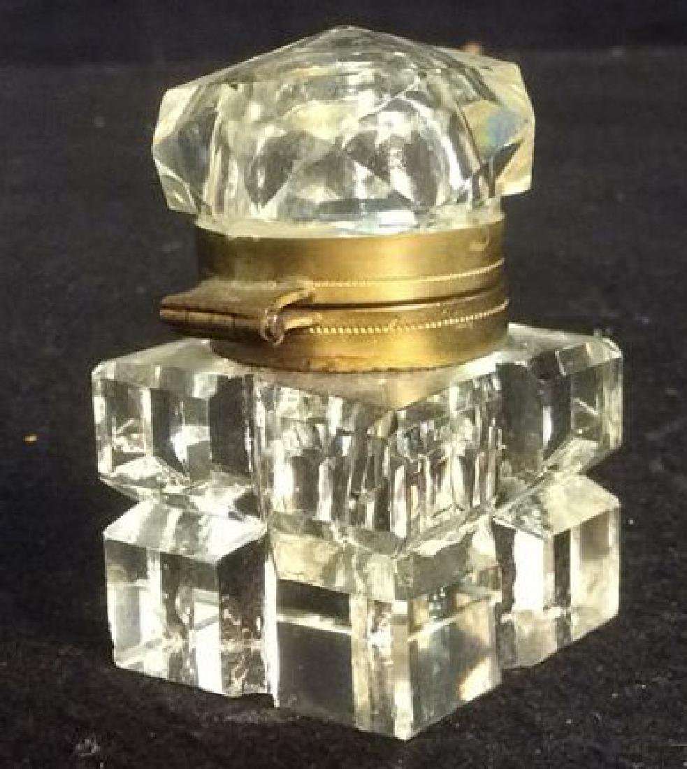 Antique Crystal and Brass Inkwell with Hexagon Lid