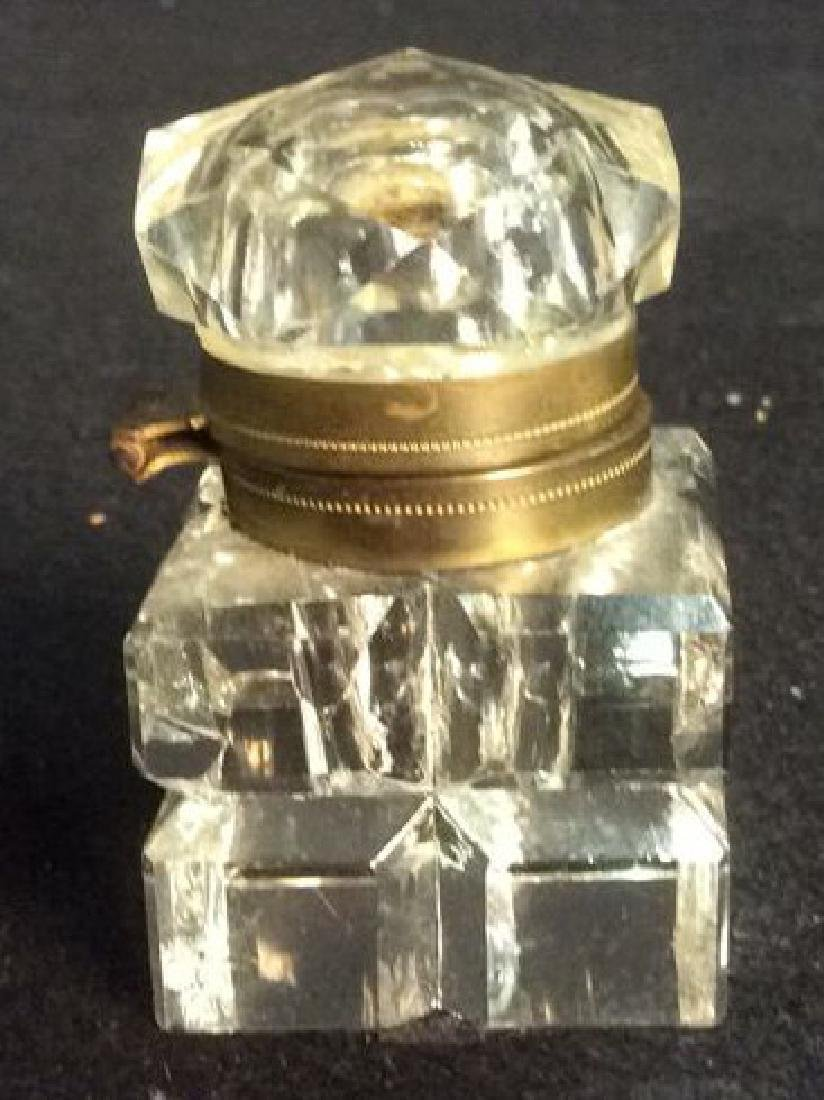 Antique Crystal and Brass Inkwell with Hexagon Lid - 2