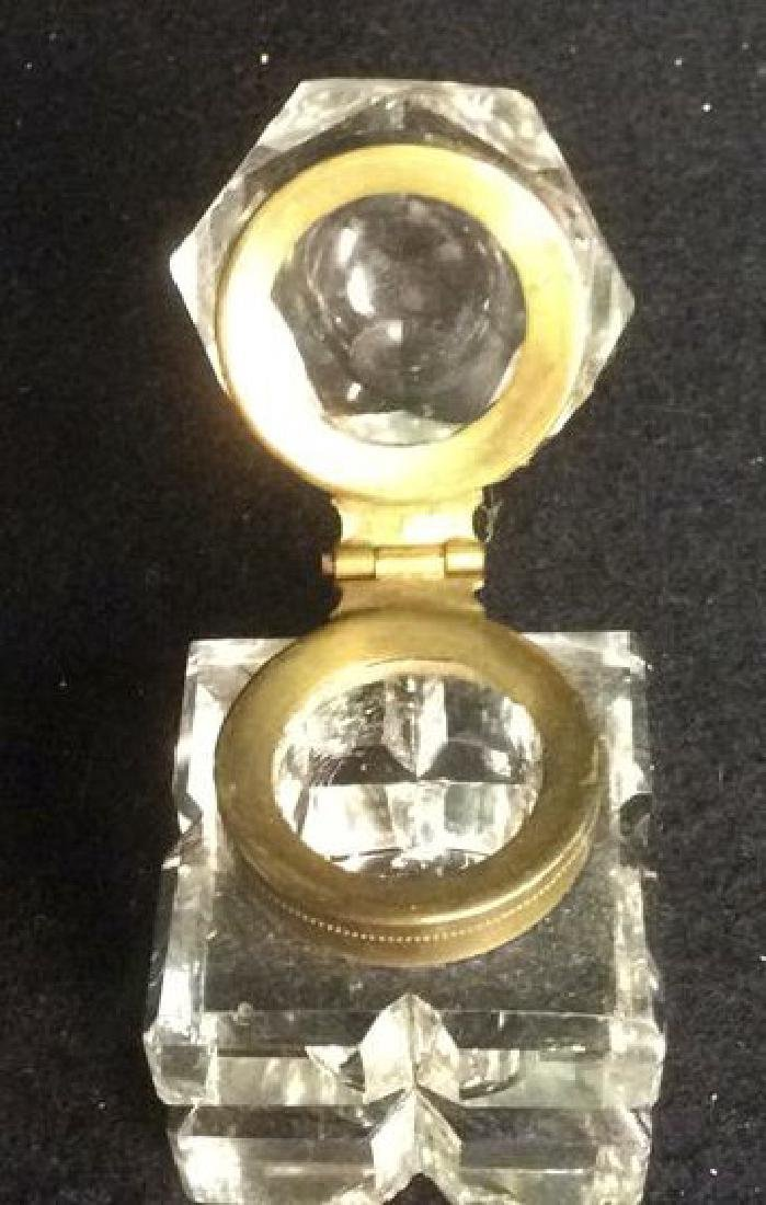 Antique Crystal and Brass Inkwell with Hexagon Lid - 3
