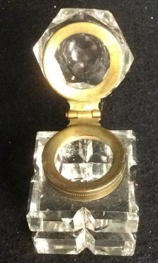 Antique Crystal and Brass Inkwell with Hexagon Lid - 4