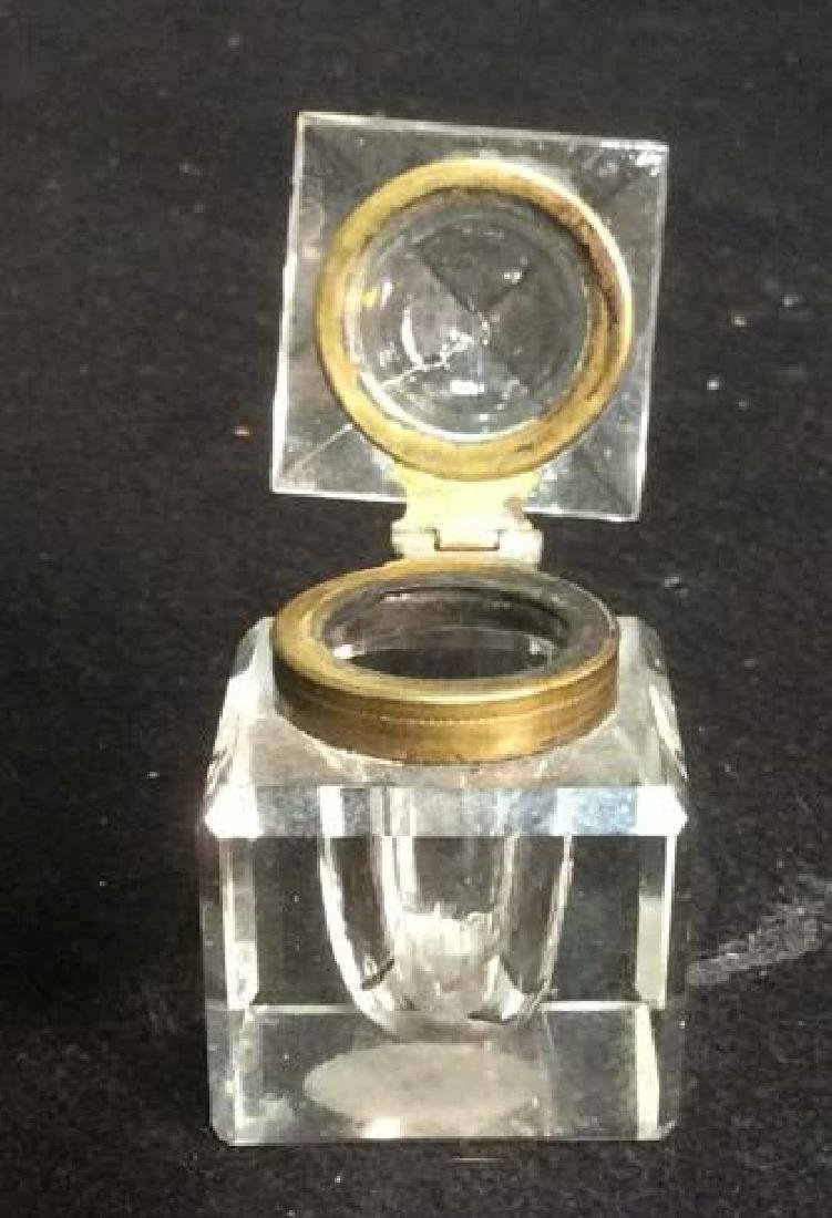 Crystal & Brass Inkwell with Pyramid Shape Lid Shaped - 2