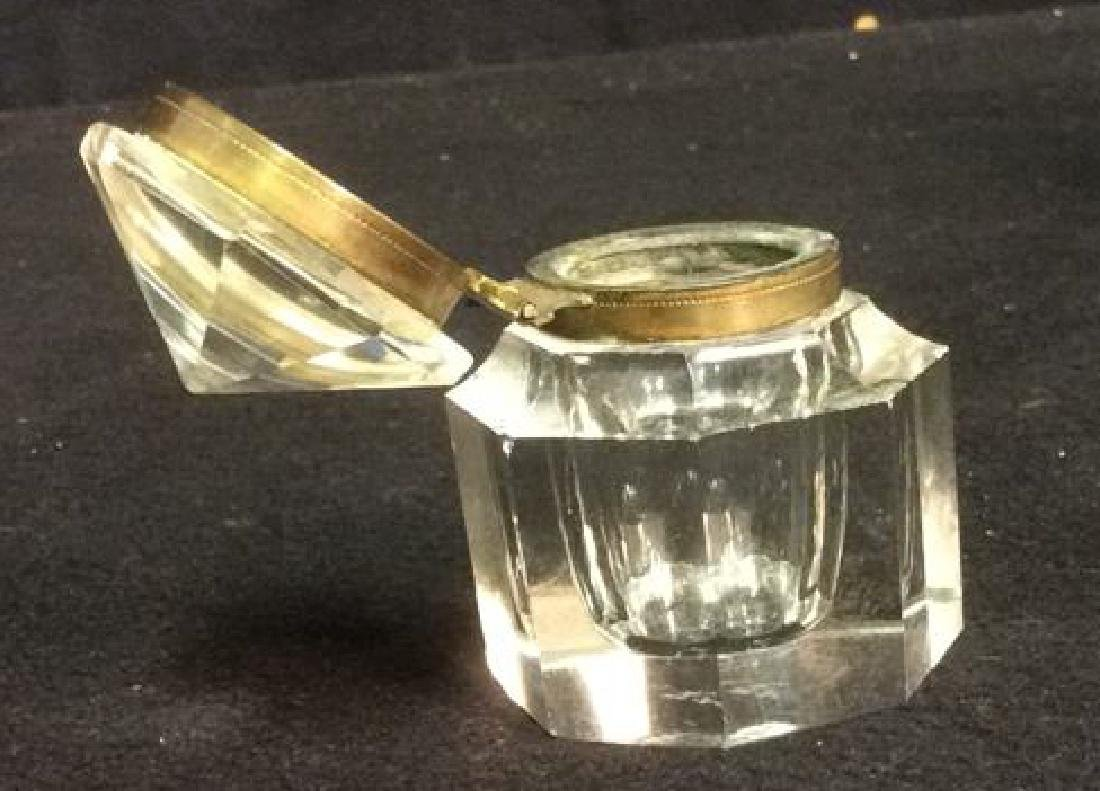 Crystal and Brass Hexagon Shaped Inkwell Crystal and - 4