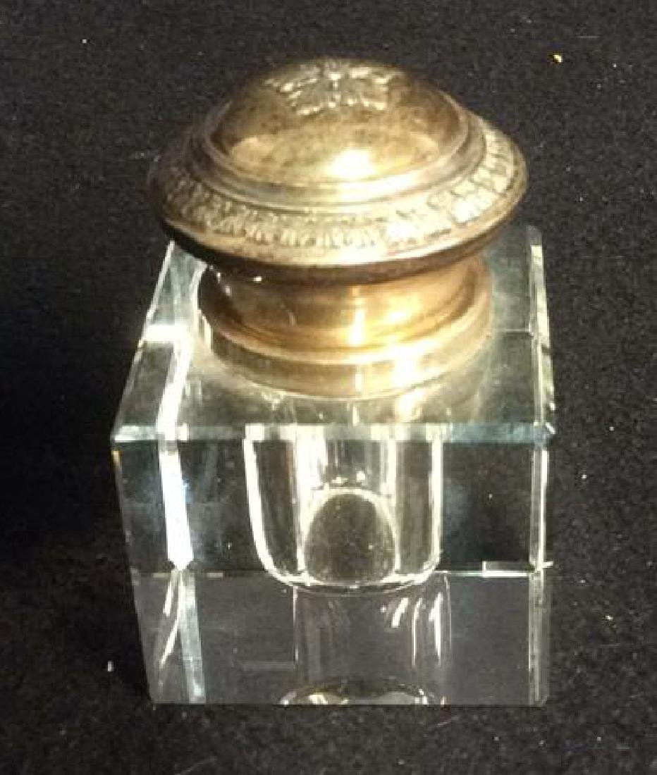 Sterling and Crystal Square Inkwell Ornate Lid Small - 5