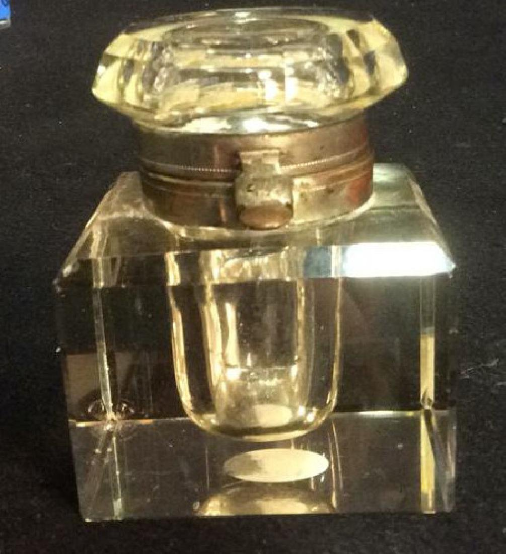Crystal and Brass Inkwell with Latching Lid Square - 2