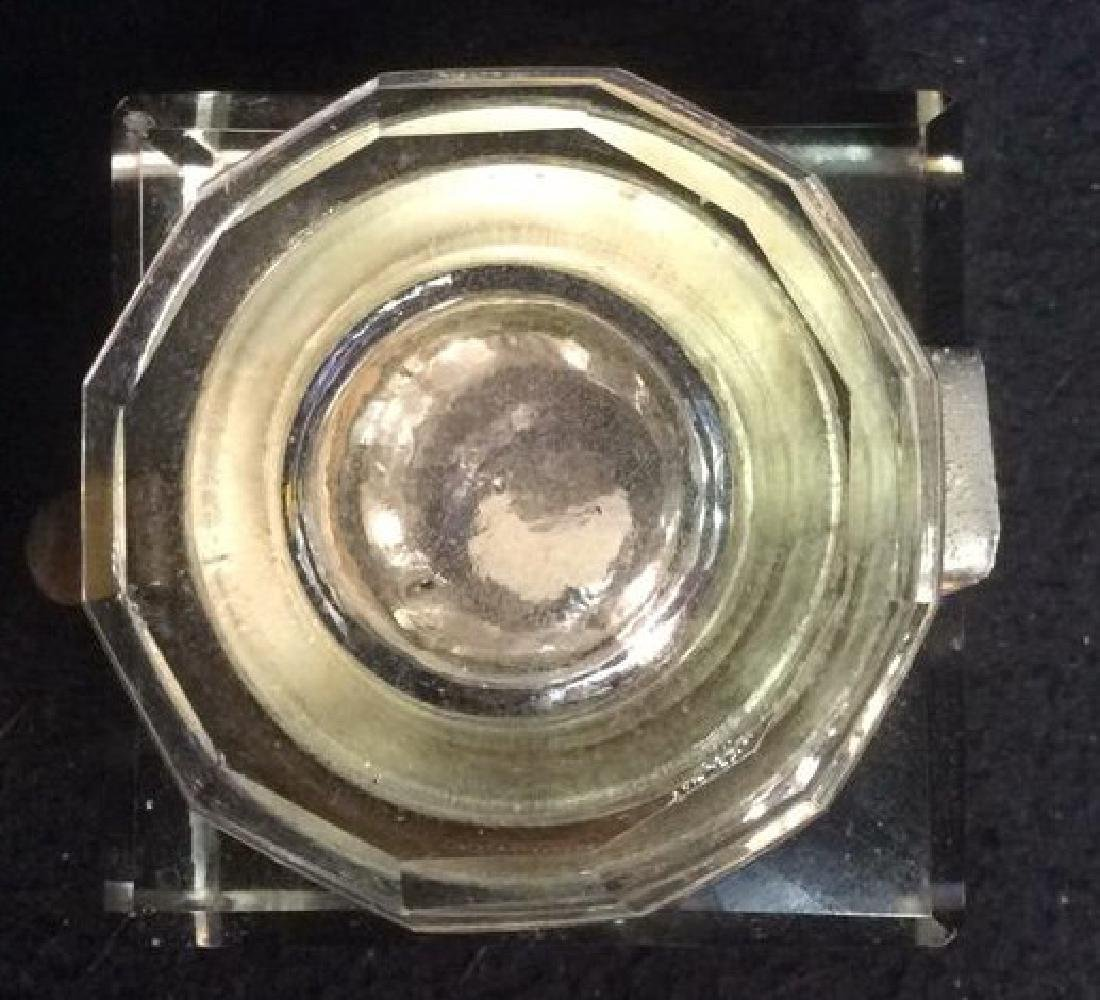 Crystal and Brass Inkwell with Latching Lid Square - 4