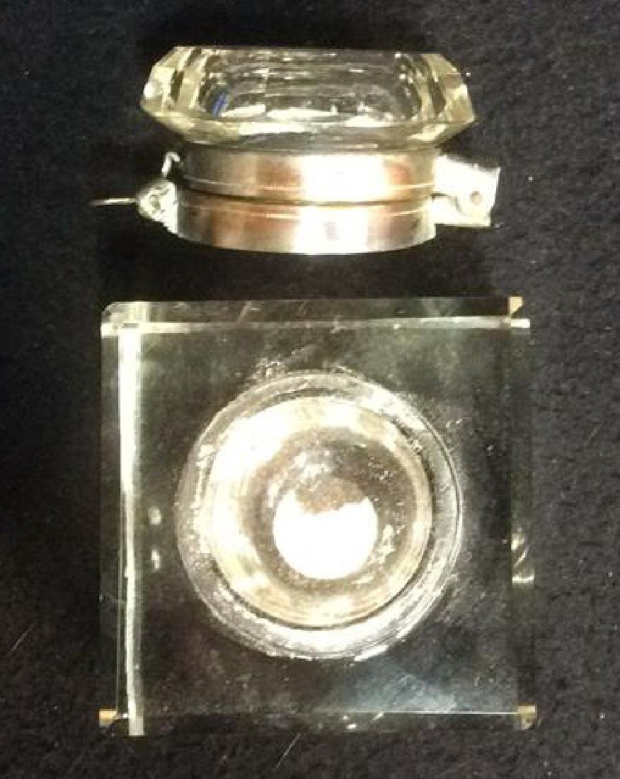 Crystal and Brass Inkwell with Latching Lid Square - 5
