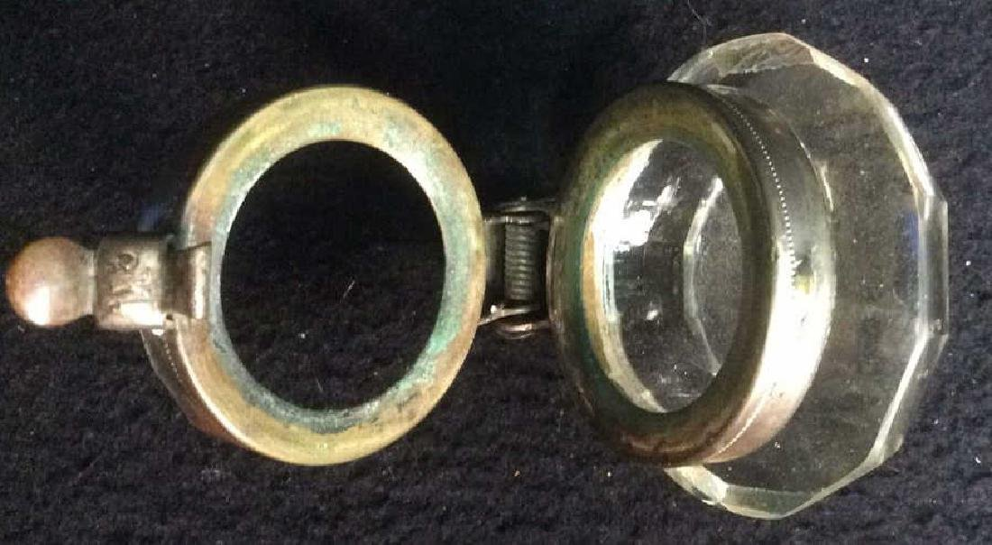 Crystal and Brass Inkwell with Latching Lid Square - 6