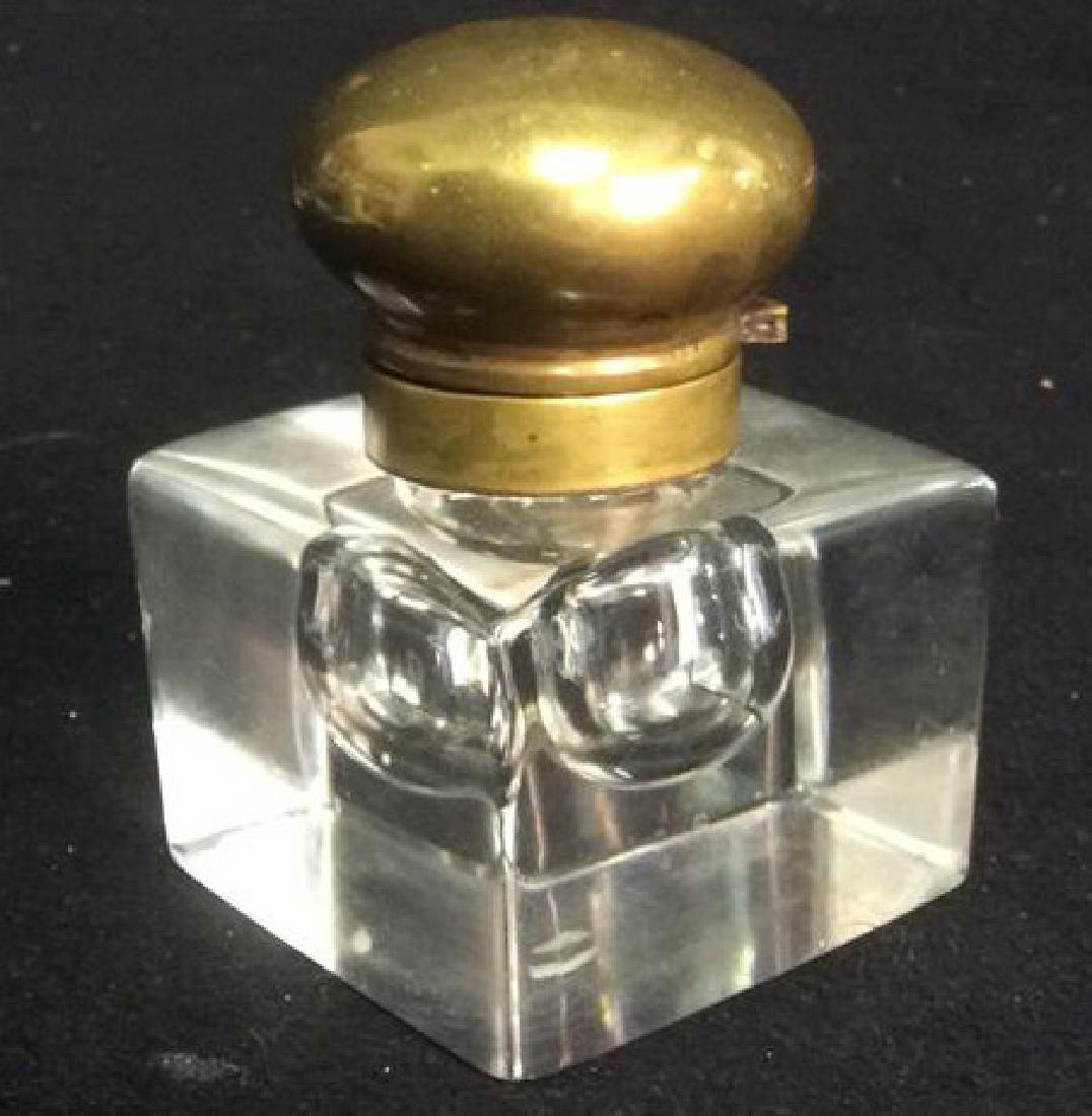 Heavy Crystal Inkwell with Brass Hinged Lid Unique