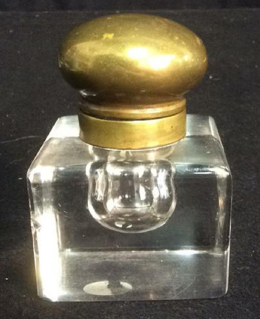 Heavy Crystal Inkwell with Brass Hinged Lid Unique - 2