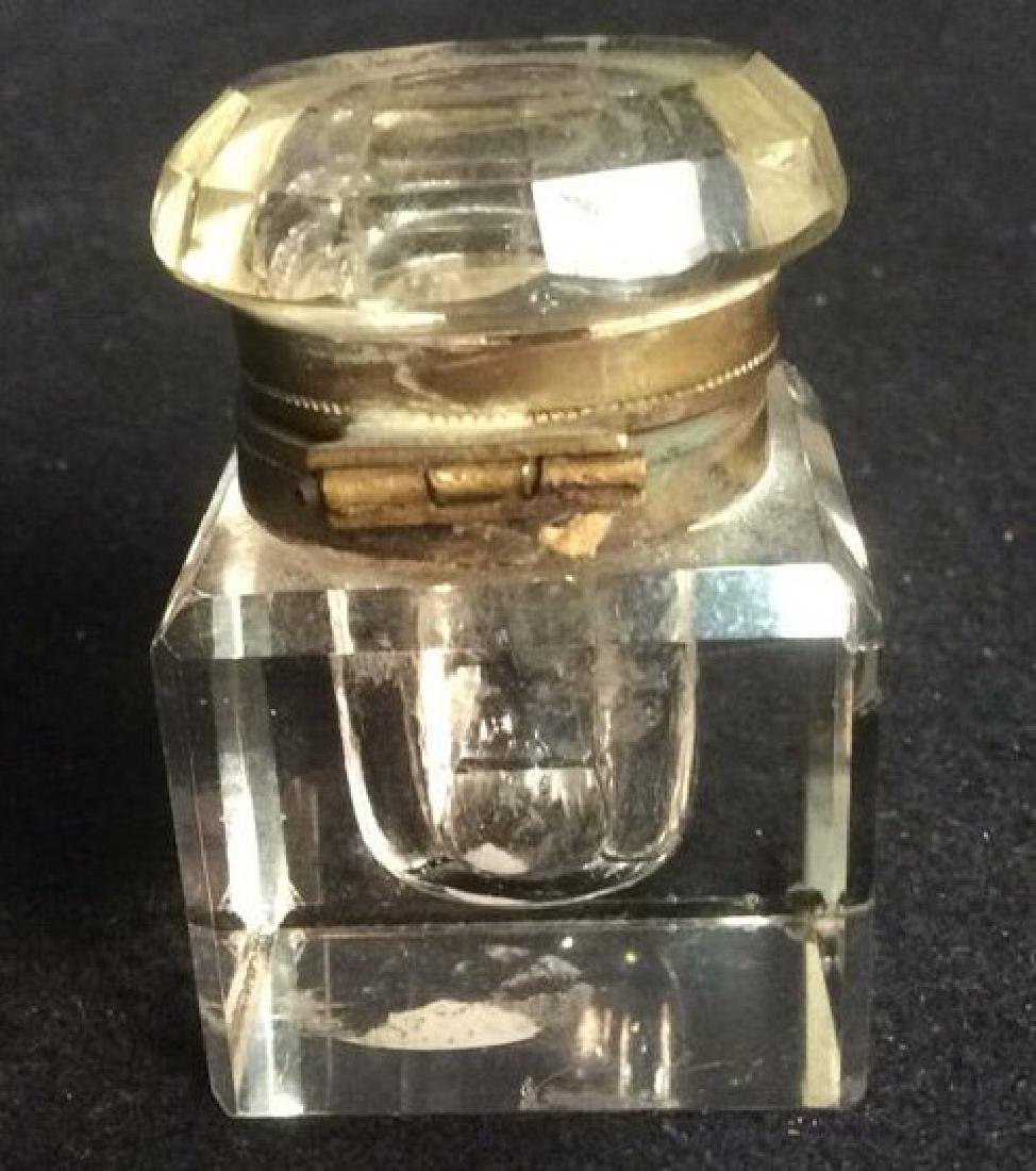 Antique Clear Crystal and Brass Inkwell Antique square - 4