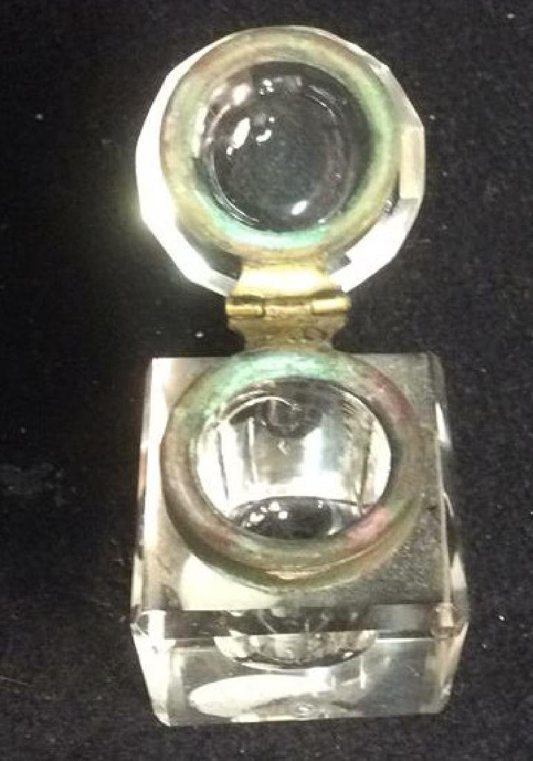 Antique Crystal and Brass Hinged Lid Inkwell Clear - 3