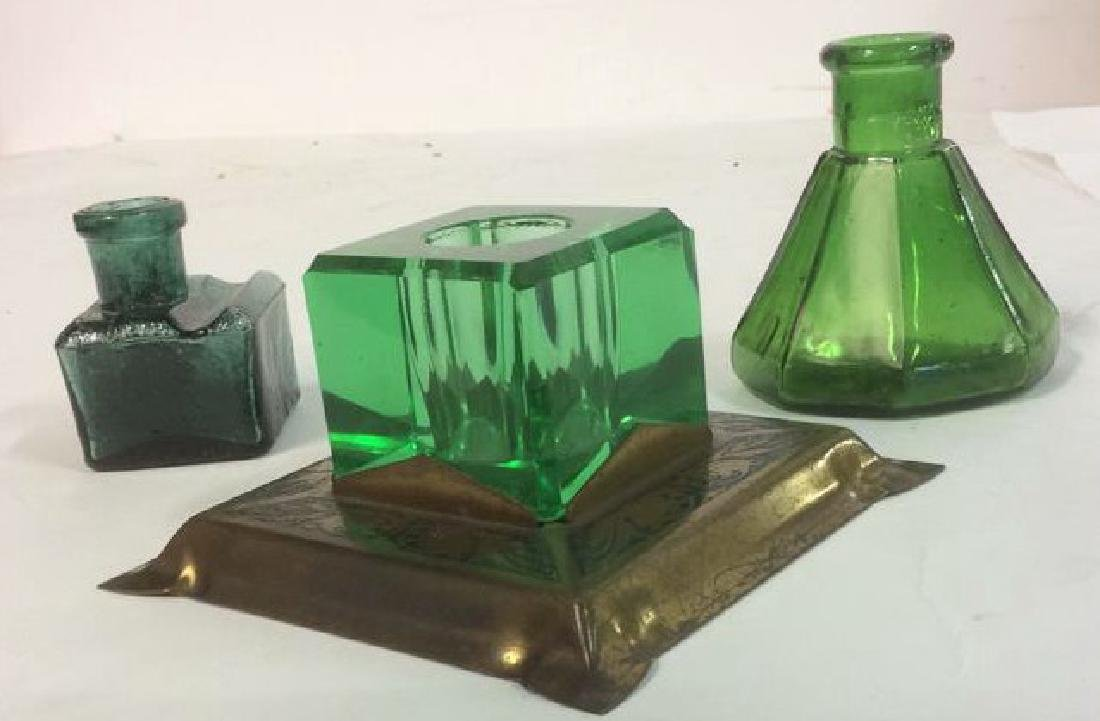 Group of Green Glass and Crystal Inkwells Bright,