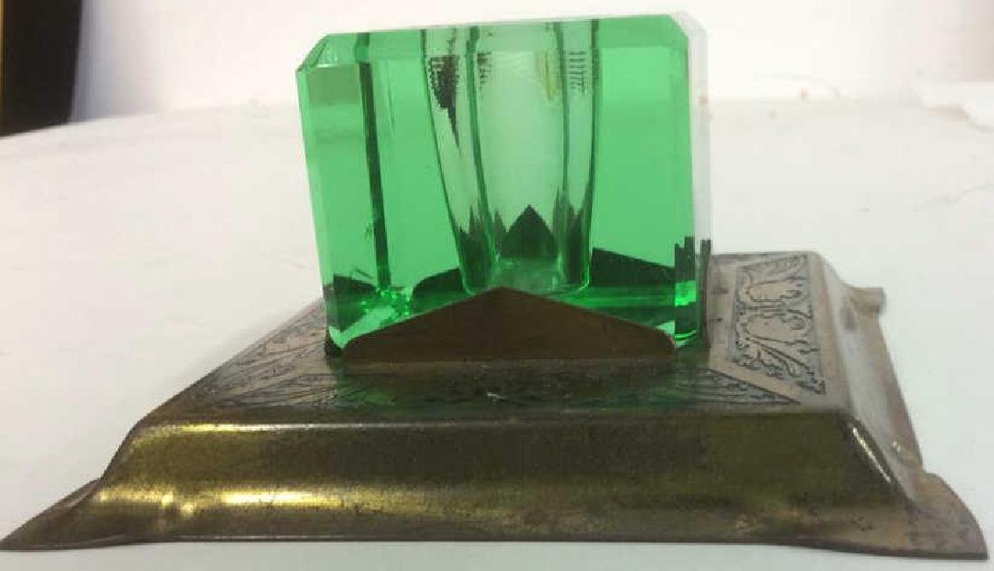 Group of Green Glass and Crystal Inkwells Bright, - 2