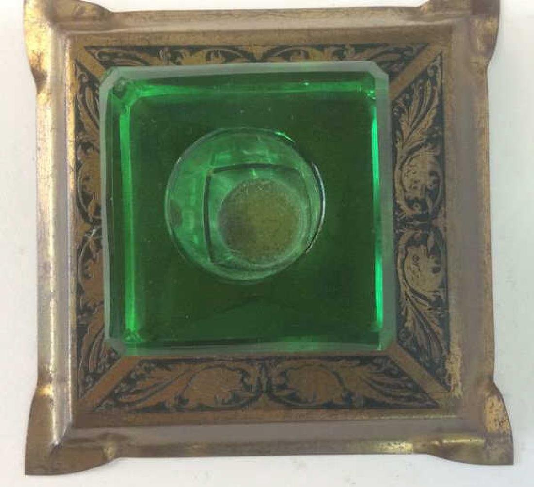 Group of Green Glass and Crystal Inkwells Bright, - 3