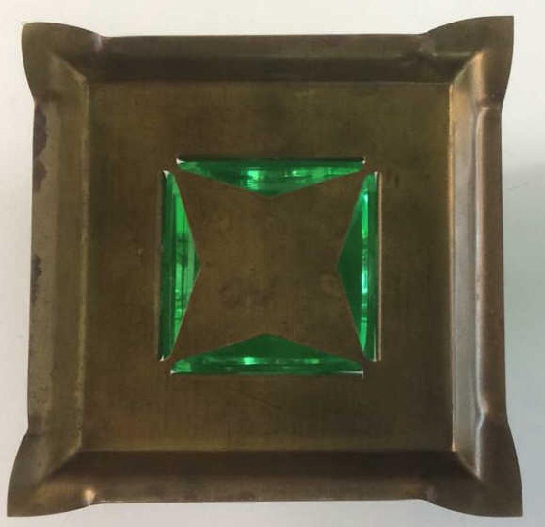 Group of Green Glass and Crystal Inkwells Bright, - 4