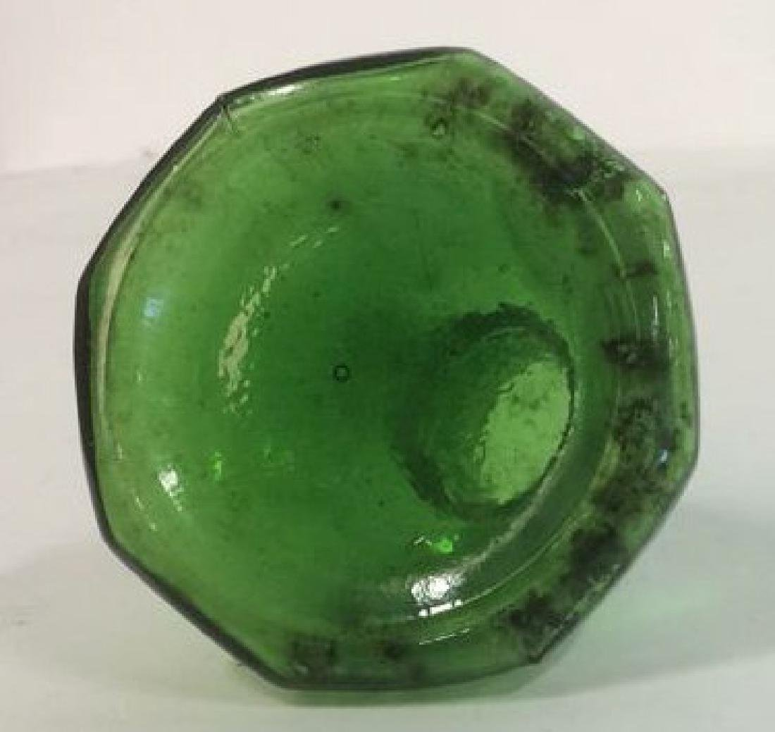Group of Green Glass and Crystal Inkwells Bright, - 6