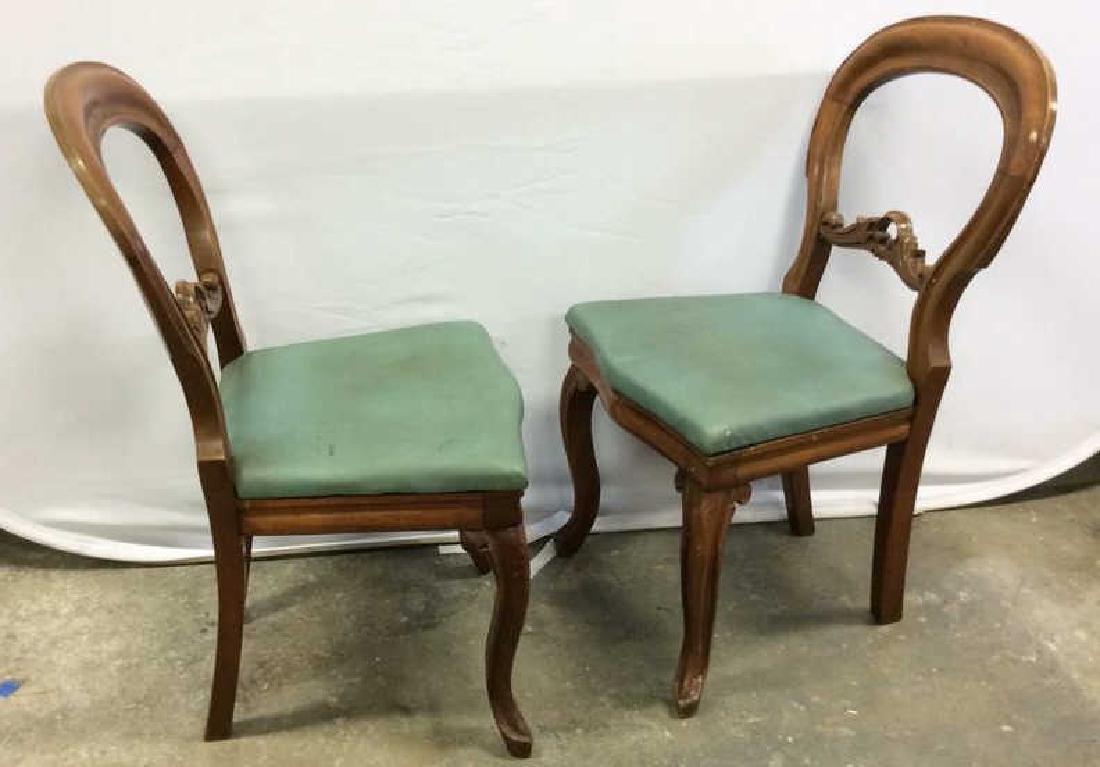 Pair carved Walnut Balloon Back Chairs Carved side - 2