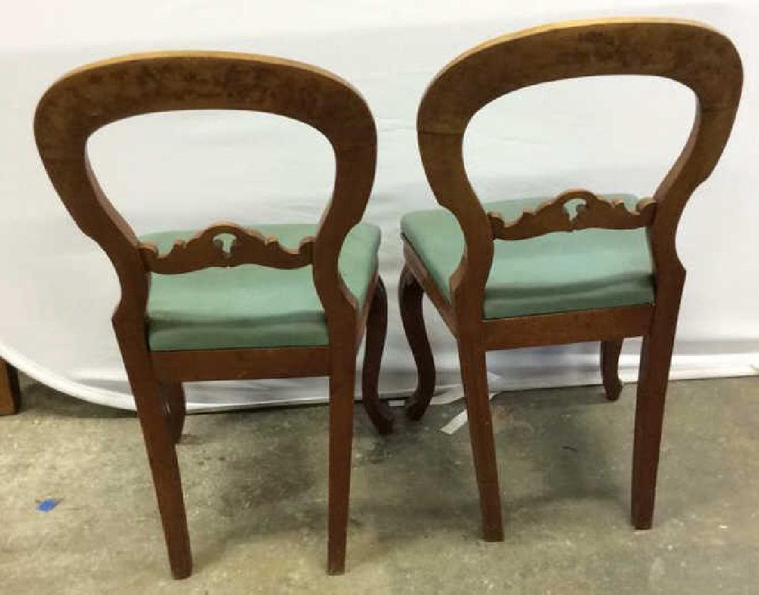Pair carved Walnut Balloon Back Chairs Carved side - 3