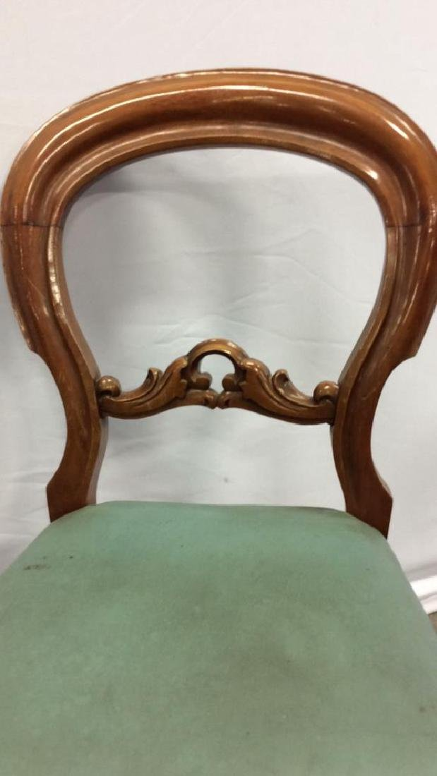 Pair carved Walnut Balloon Back Chairs Carved side - 6