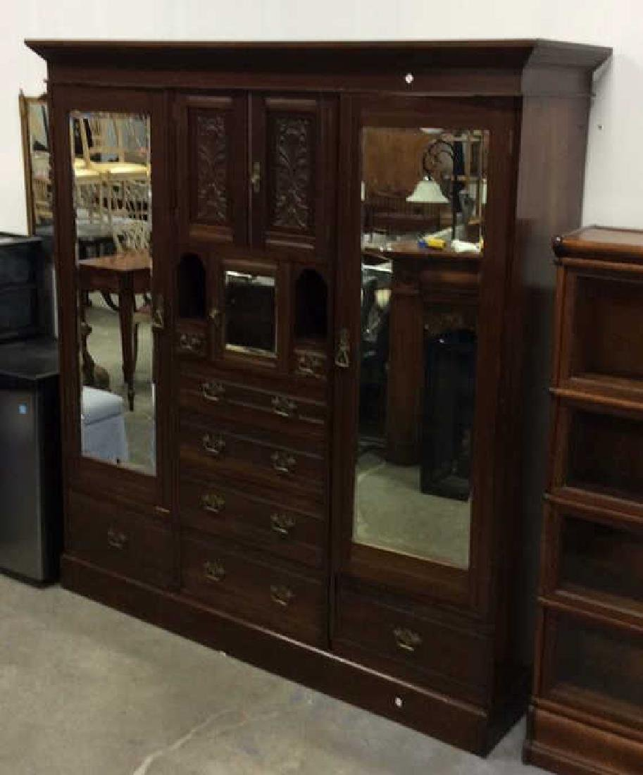 3 Piece Mirrored and Carved Antique Armoire Carved - 2
