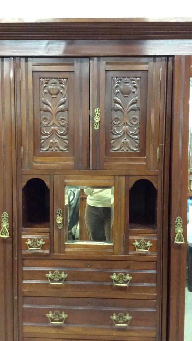 3 Piece Mirrored and Carved Antique Armoire Carved - 3