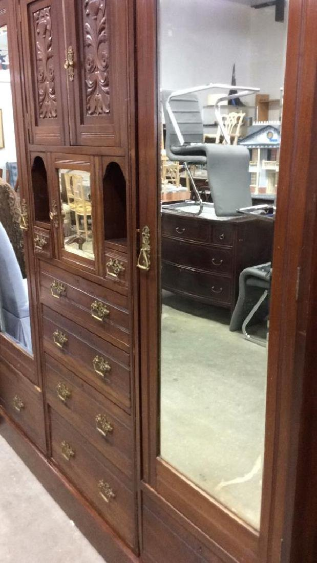 3 Piece Mirrored and Carved Antique Armoire Carved - 8