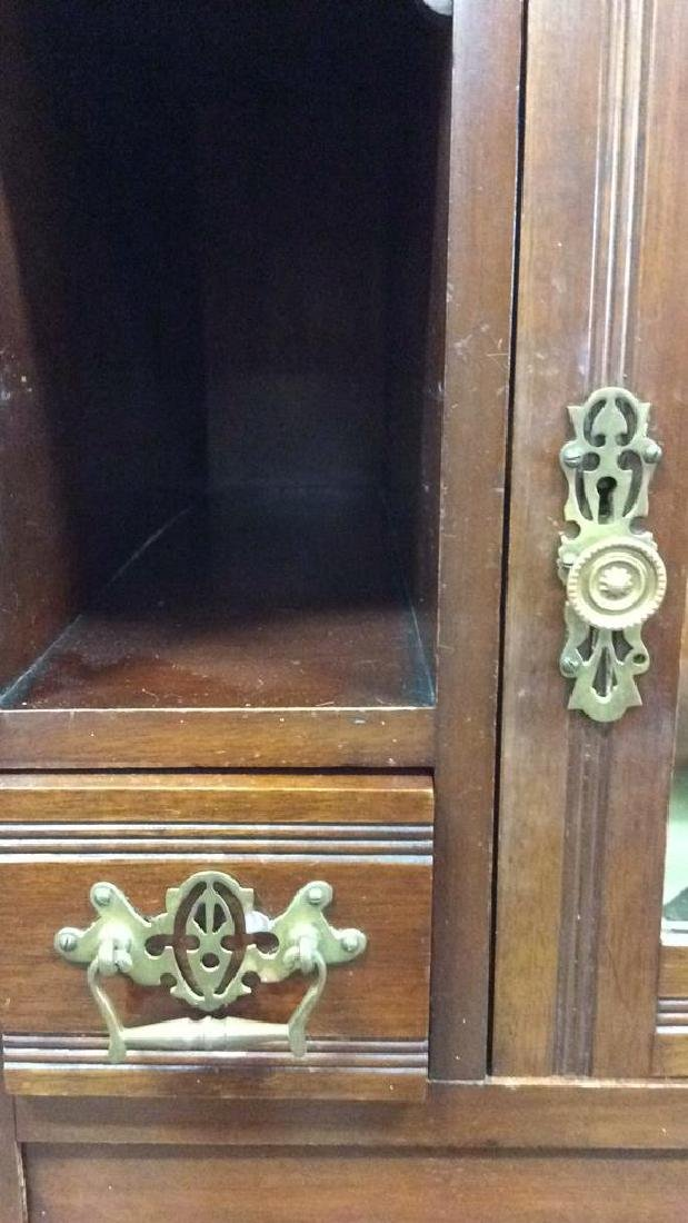 3 Piece Mirrored and Carved Antique Armoire Carved - 9