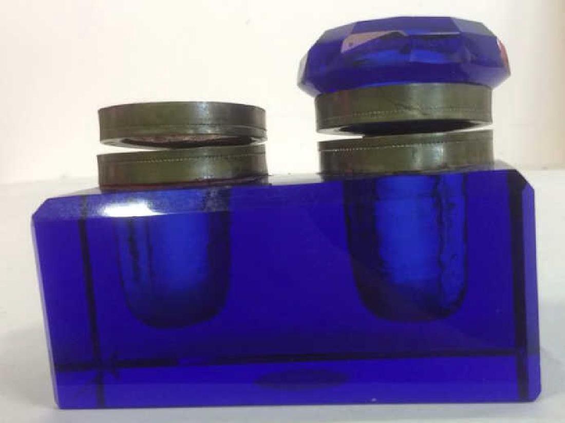 Cobalt Blue and Brass Double Inkwell Rectangular cut