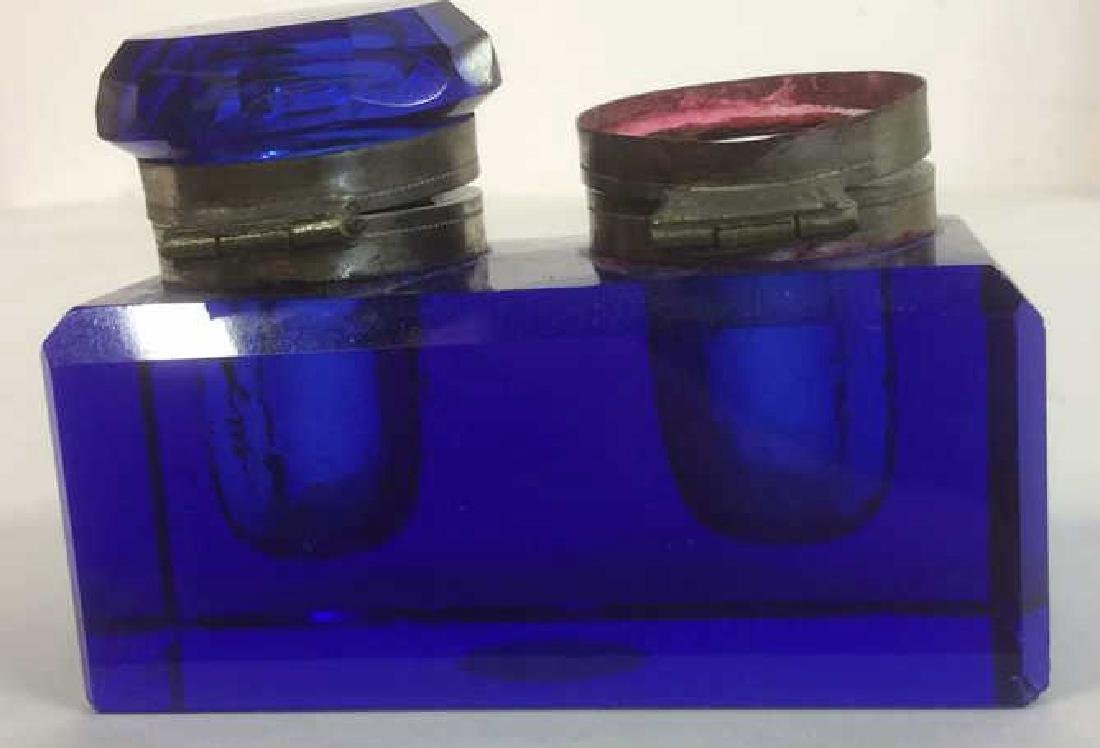 Cobalt Blue and Brass Double Inkwell Rectangular cut - 2