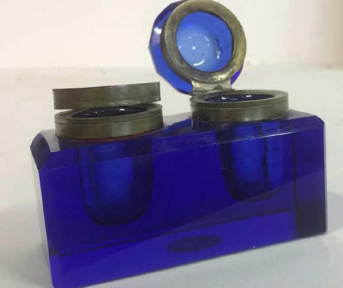 Cobalt Blue and Brass Double Inkwell Rectangular cut - 3