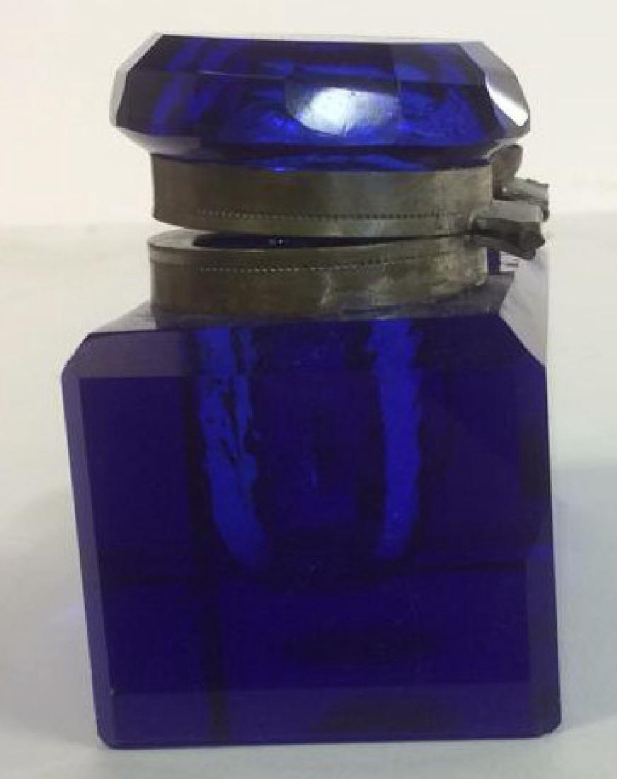 Cobalt Blue and Brass Double Inkwell Rectangular cut - 4
