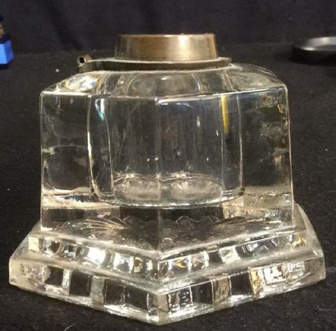 Pressed Glass and Brass Hexagon Shaped Inkwell Heavy