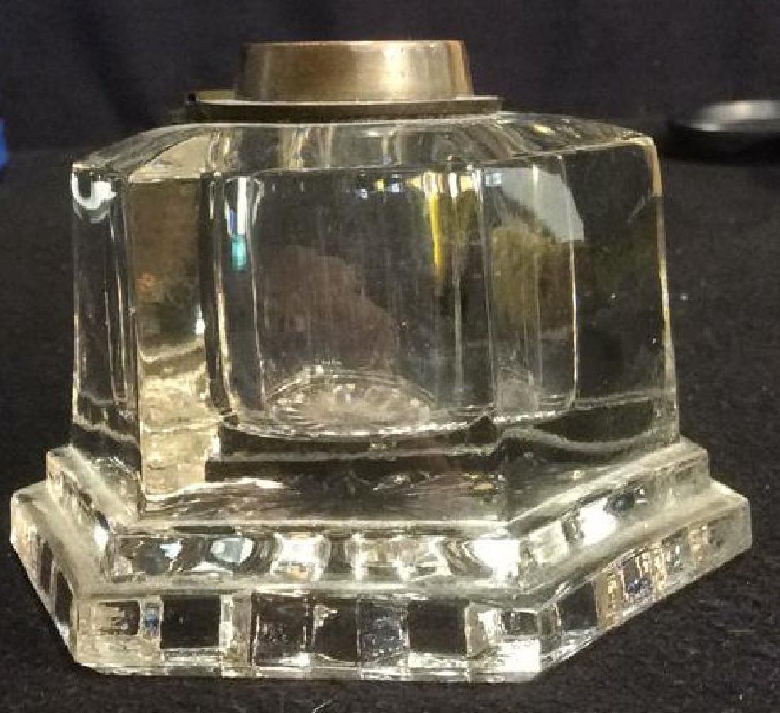Pressed Glass and Brass Hexagon Shaped Inkwell Heavy - 2