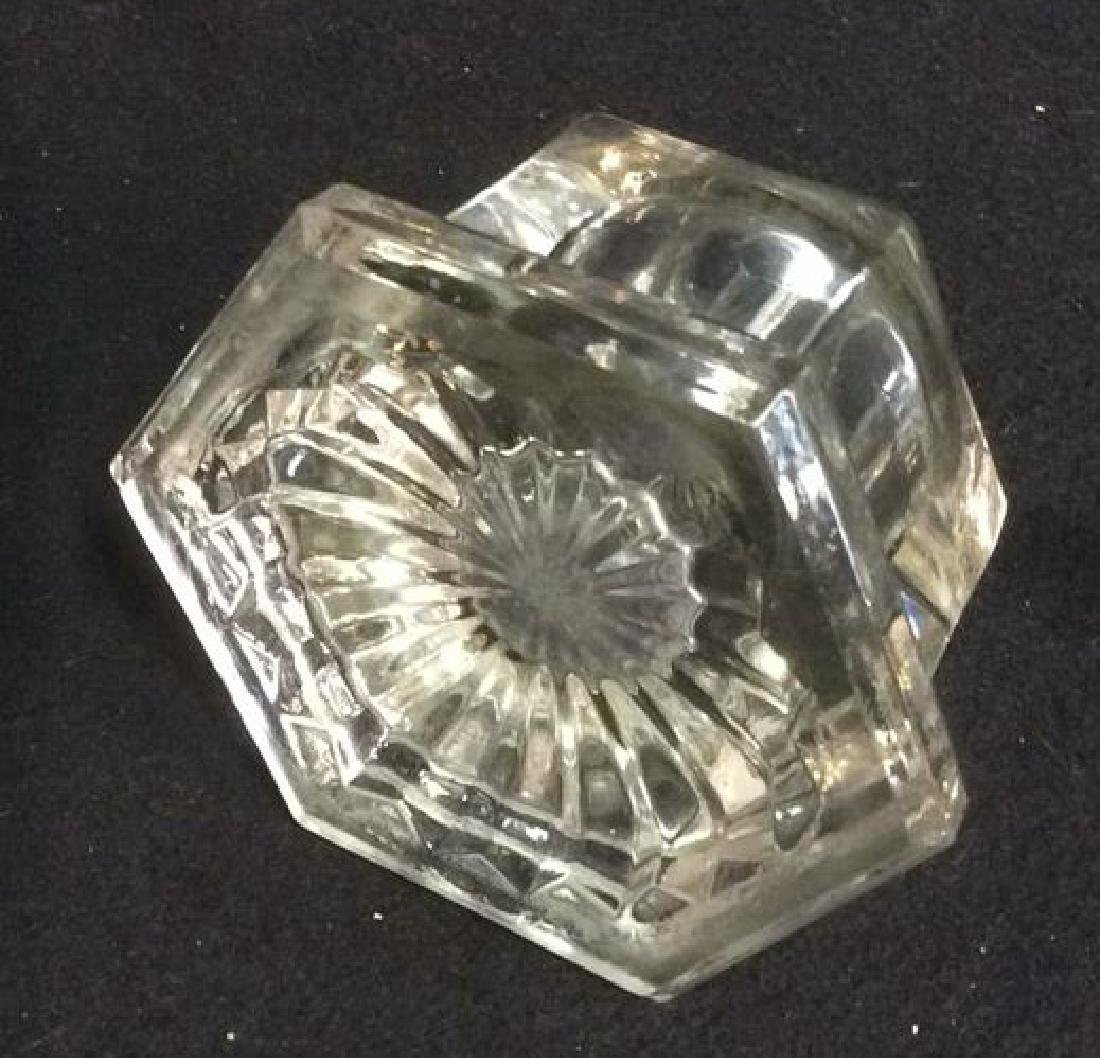 Pressed Glass and Brass Hexagon Shaped Inkwell Heavy - 4