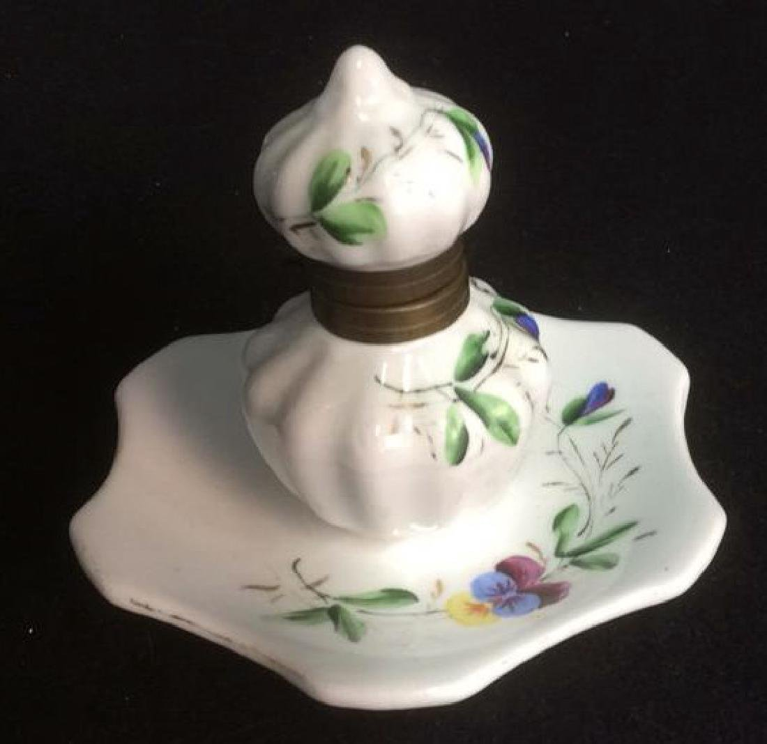 Porcelain and Brass Hand Painted Inkwell Delicate hand
