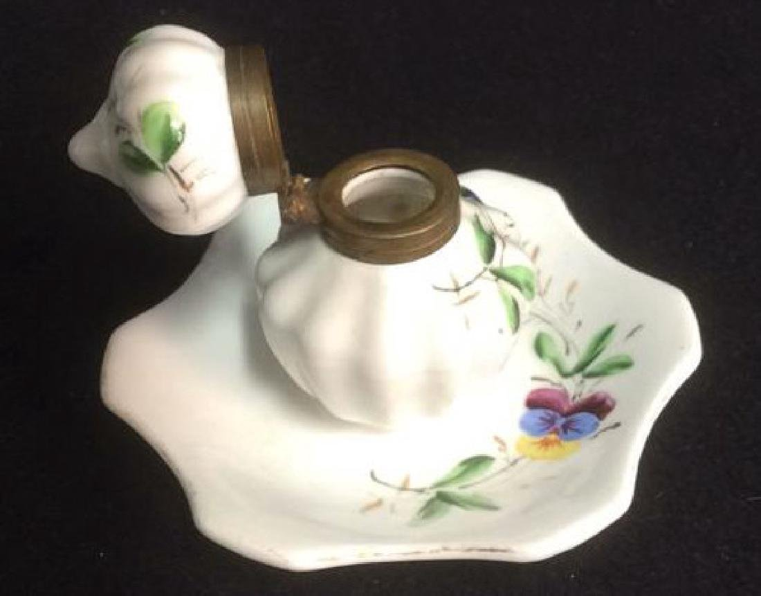 Porcelain and Brass Hand Painted Inkwell Delicate hand - 2
