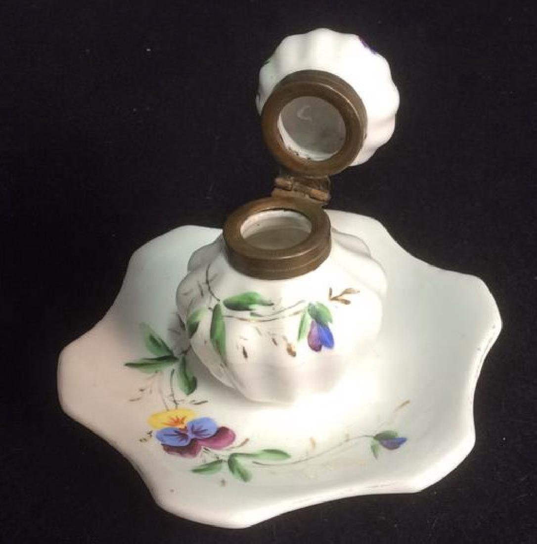 Porcelain and Brass Hand Painted Inkwell Delicate hand - 3