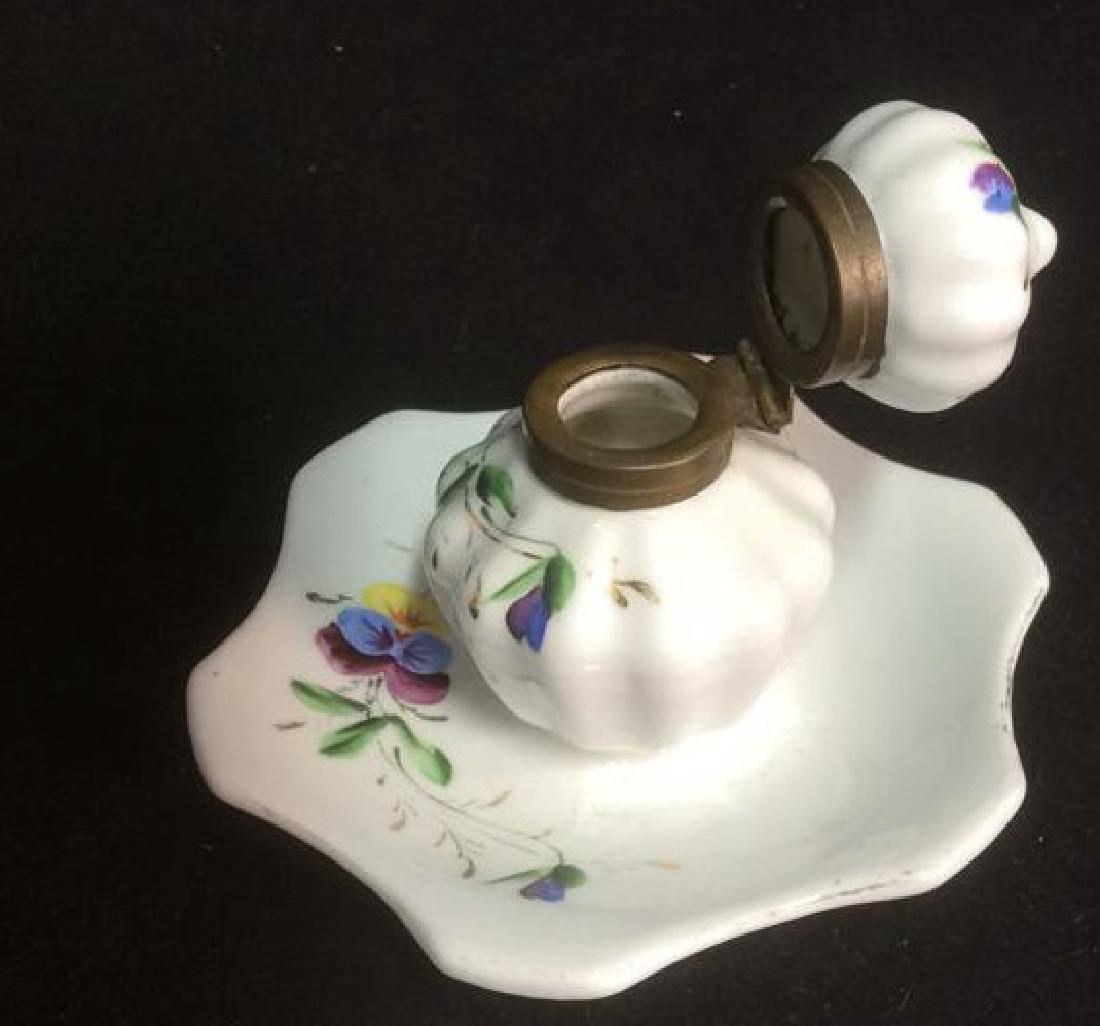 Porcelain and Brass Hand Painted Inkwell Delicate hand - 4