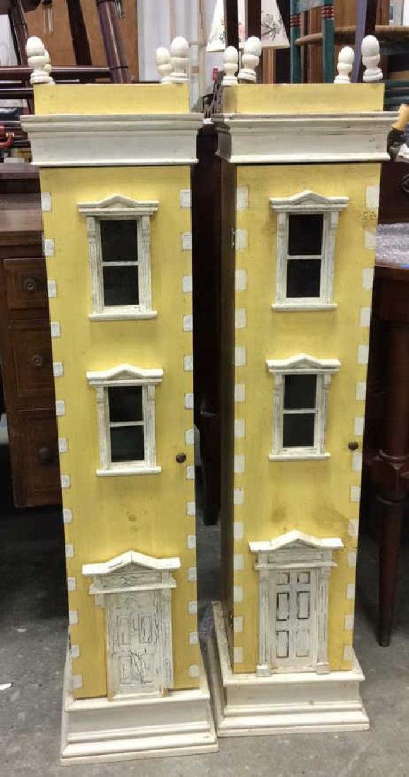 Pair Yellow Painted Town House Cabinets Pair of narrow