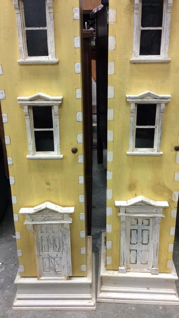 Pair Yellow Painted Town House Cabinets Pair of narrow - 2