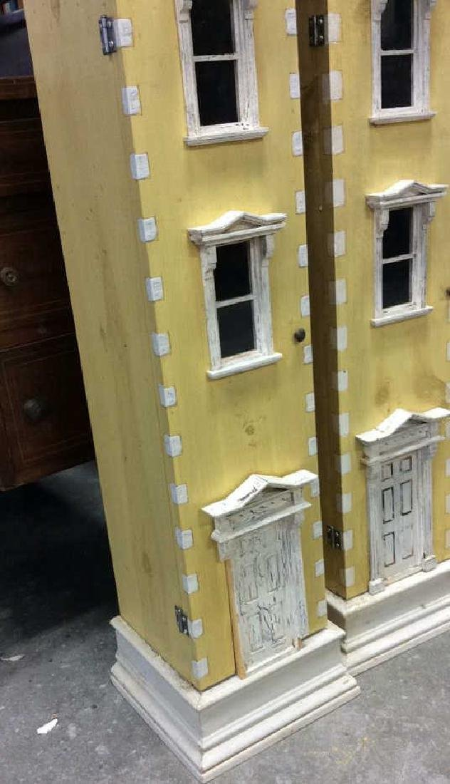 Pair Yellow Painted Town House Cabinets Pair of narrow - 3