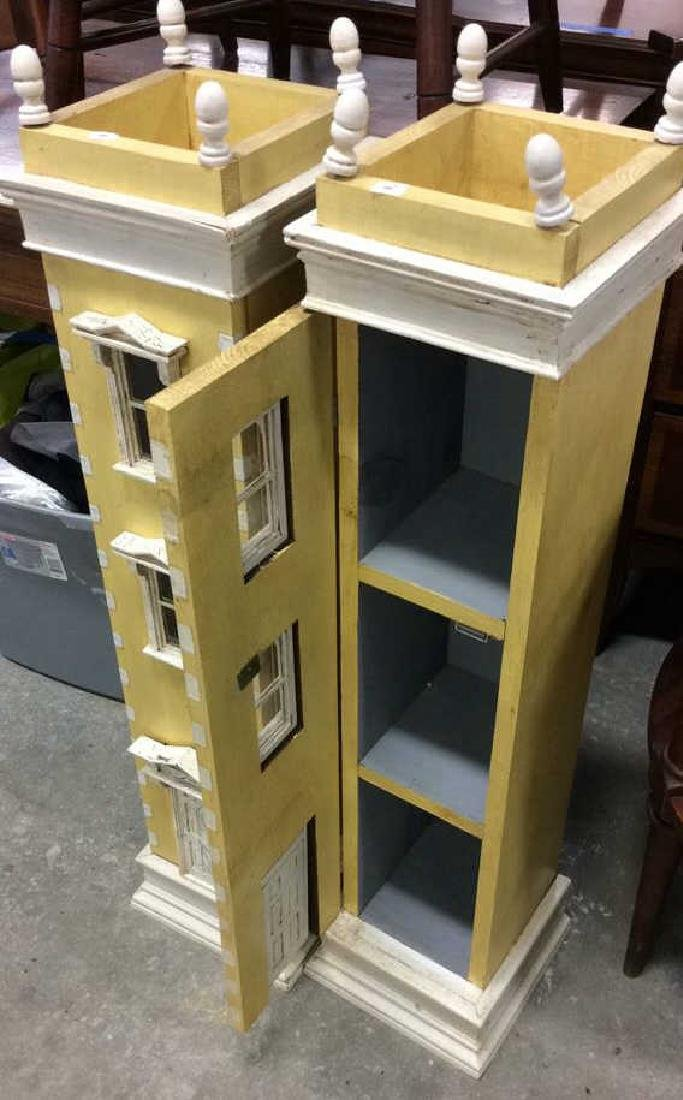Pair Yellow Painted Town House Cabinets Pair of narrow - 6
