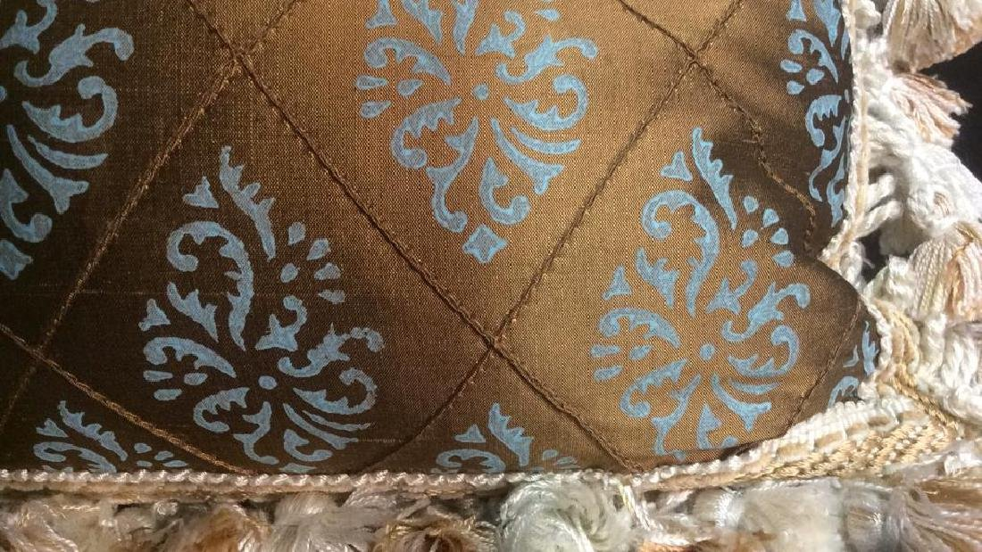 Silk Teal and Brown Throw Pillow with Fringe