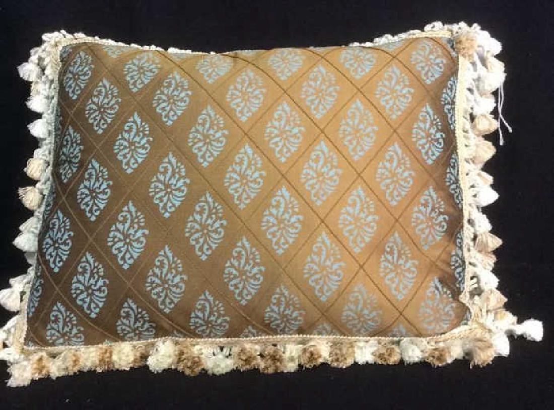 Silk Teal and Brown Throw Pillow with Fringe - 2