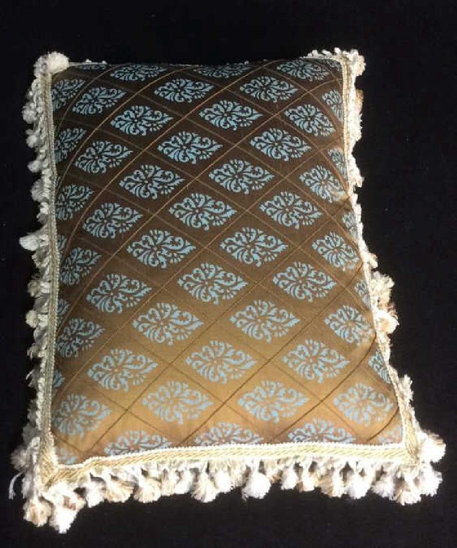 Silk Teal and Brown Throw Pillow with Fringe - 3
