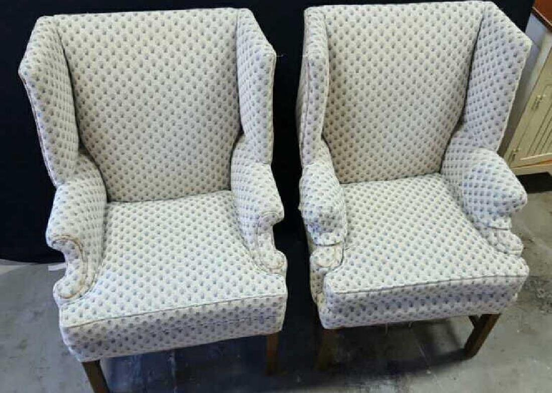 Pair of Upholstered Wing Chairs Pair of Upholstered