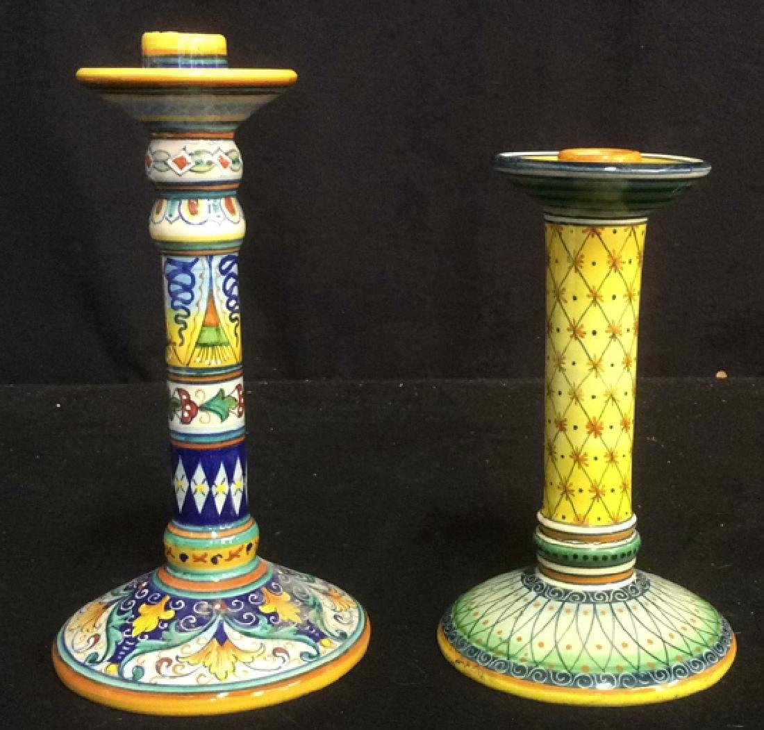 Bright Handpainted Pottery Candlesticks Deruta Italy