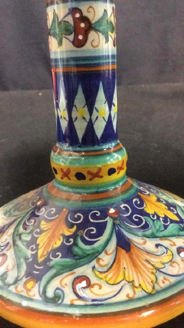 Bright Handpainted Pottery Candlesticks Deruta Italy - 2