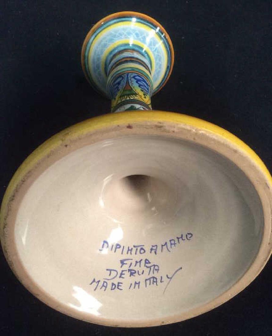 Bright Handpainted Pottery Candlesticks Deruta Italy - 4